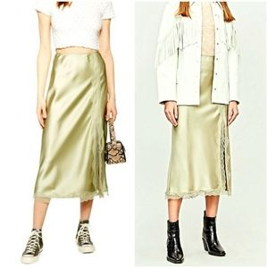 Topshop Lace Trim Satin Midi Skirt Champagne Gold